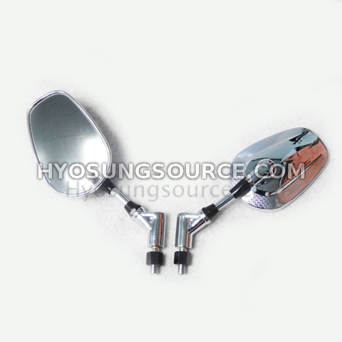 10MM Chrome Oval Rearview Mirrors For Daelim Hyosung